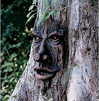 Garden Mile® Realistic Wood Effect Carved Hobbit Goblin Ogre Fairy Garden  Tree Face Mystical Fantasy