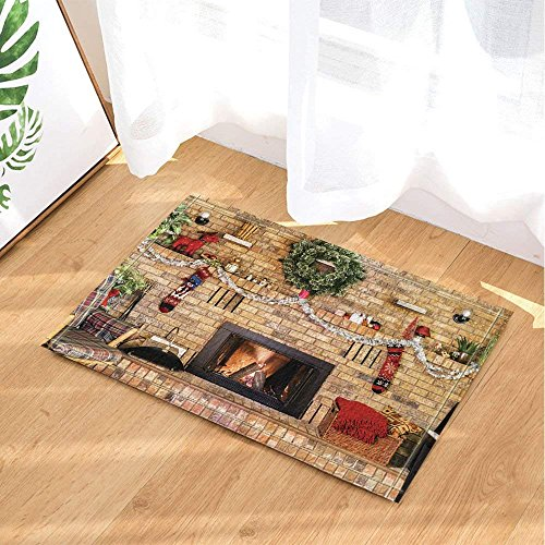 CdHBH Xmas Decor Cozy Fire in Brick Fireplace and Mantle Decorated for Christmas Bath Rugs Non-Slip Doormat Floor Entryways Indoor Front Door Mat Kids Bath Mat 15.7x23.6in Bathroom Accessories by CdHBH