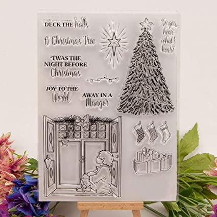 Amazon Com Seaskyer Christmas Tree Clear Stamp For Card Making Diy