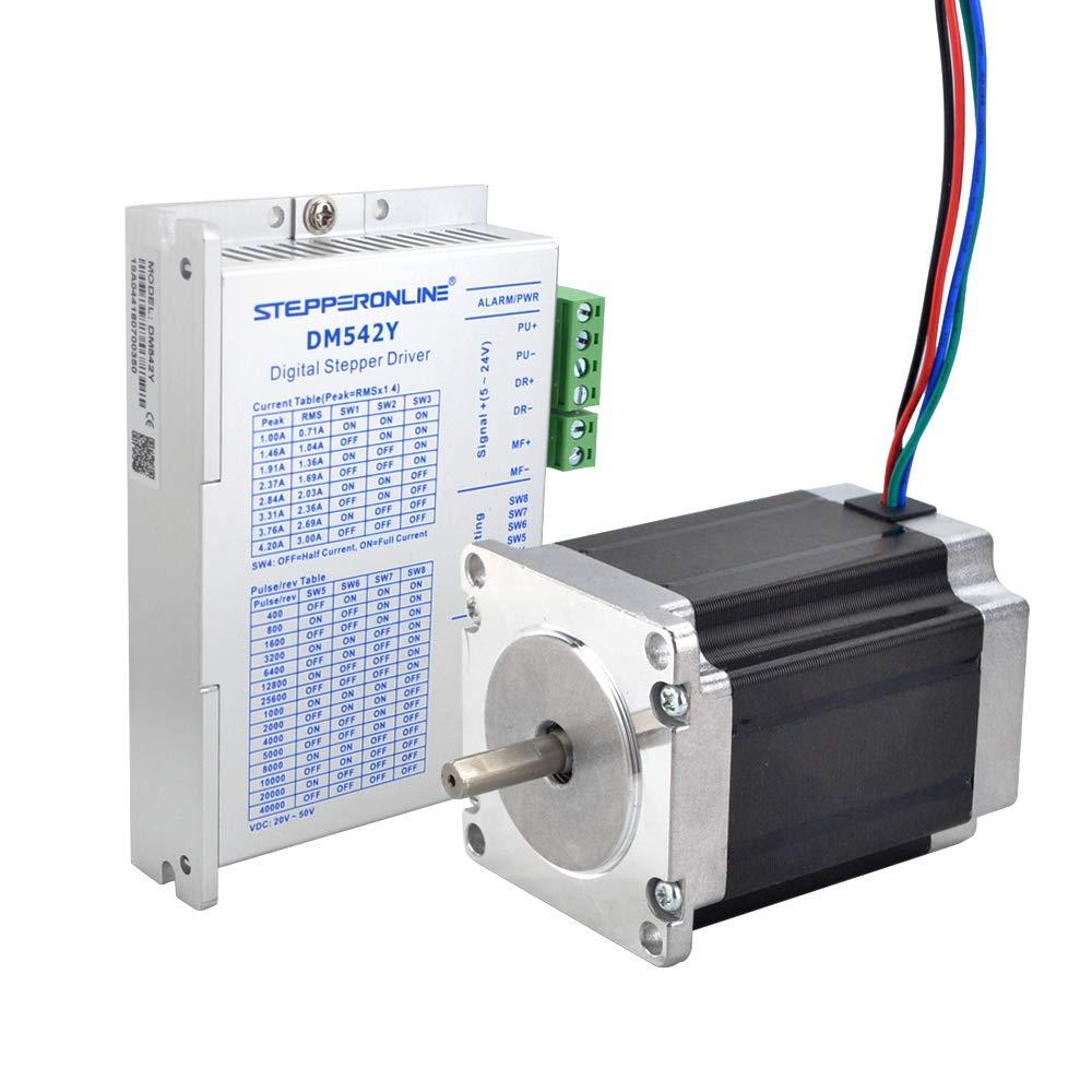 STEPPERONLINE 1 eje Motor paso a paso CNC Kit 1.9Nm 2.8A Nema 23 Motor paso a paso & Motor paso controlador 1.0-4.2A DC20V-50V para máquina de grabado CNC, impresora 3D