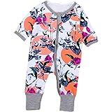 468a83d50 Igemy Newborn Baby Boys Girls Floral Print Zipper Long Sleeve Romper ...