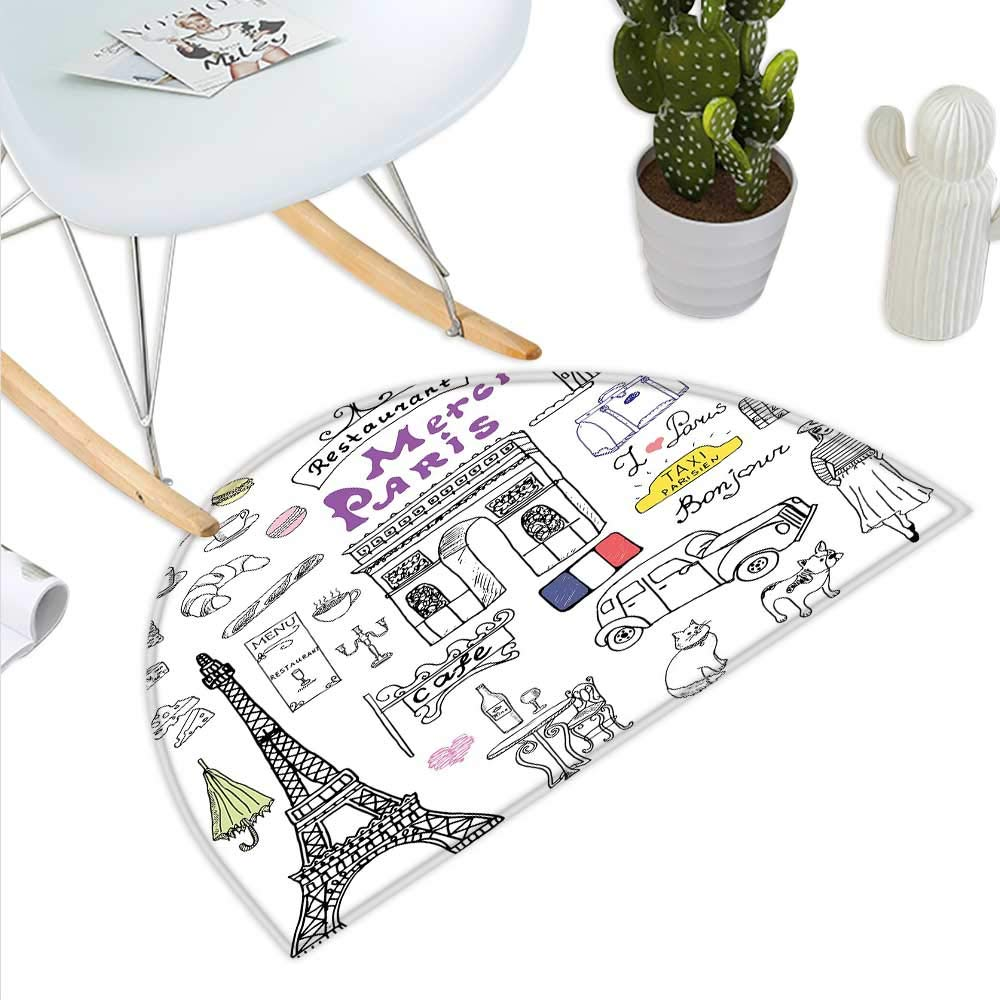 color08 H 31.5  xD 47.2  Doodle Semicircle Doormat Prince Charming and Castle Pirncess Inspired Romance Drawing Knights and Dragons Halfmoon doormats H 27.5  xD 41.3  Black White
