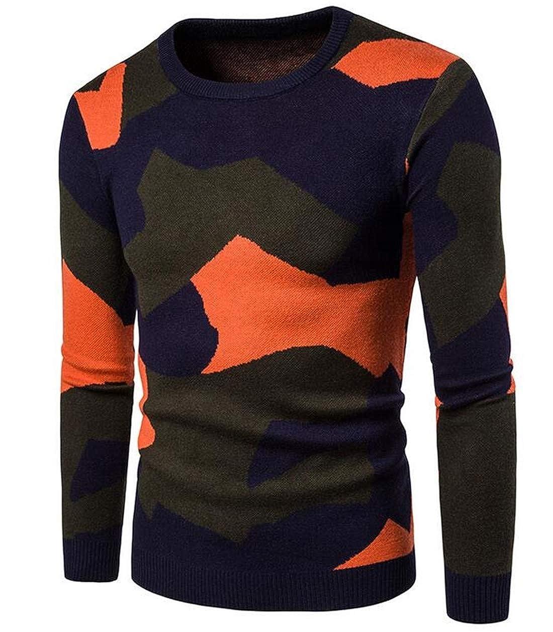 UUYUK Men Stitching Camo Print Knit Long Sleeve Slim Fit Round Neck Pullover Sweater