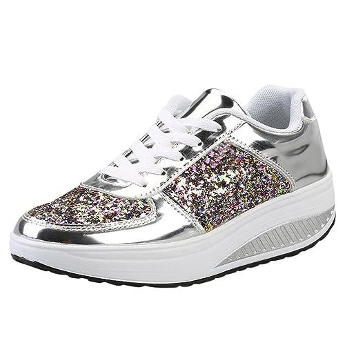 Scarpe Sportive Eleganti Donna Paillettes Con Zeppa Sneakers Tu1J3FlKc