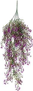 Shineweb 1Pc Artificial Flower Vine Hanging Baskets Photograph Prop Wedding Home Wall Hanging Decor Purple