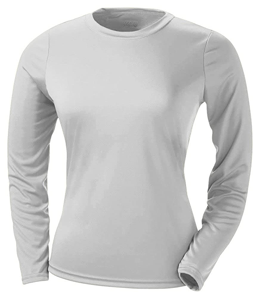 A4 Ladies' Cooling Performance Long-Sleeve T-Shirt, Silver