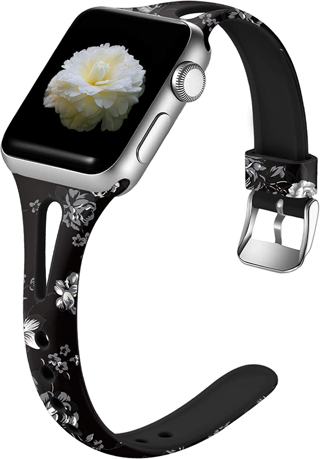 Easuny Slim Bands Compatible for Apple Watch Series 6 44mm Series 5 4 for Womens, Soft Cute Thin for Apple Watch SE 42mm Bands,Series 3 2/1, iWatch Printed Silicone Wristband S/M, Gray Flower
