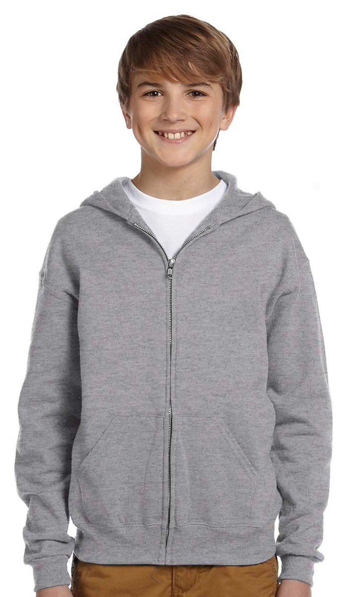Jerzees Youth Nublend Full-Zip Hooded Sweatshirt, Oxford, Large