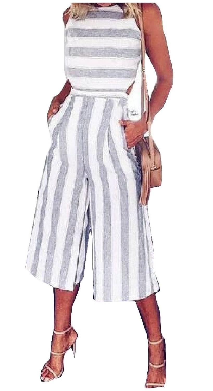 Abetteric Women's Wide Leg Sleeveless Striped Printed Linen Jumpsuit Romper