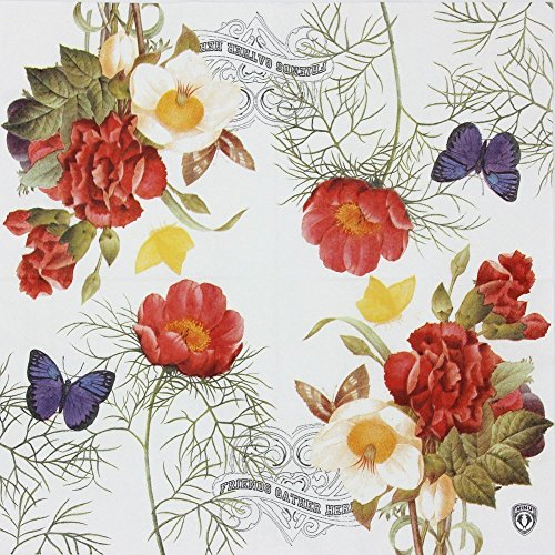 ALINK Luncheon Napkins, Designer Vintage Paper Napkins Serviettes Printing Flowers Butterfly for Weeding, Dinner and Party, 20 Count