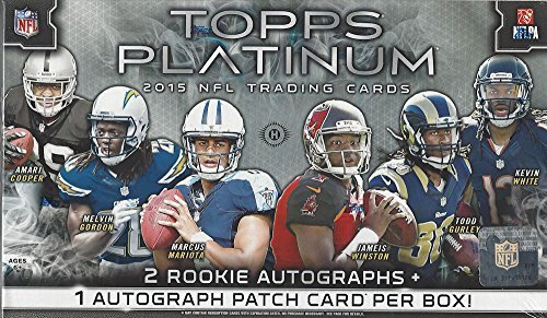 2015 Topps Platinum Football Hobby Box (20 Packs of 5 cards, 2 Autographs, 7 Inserts) (Release date (Platinum Hobby Box)
