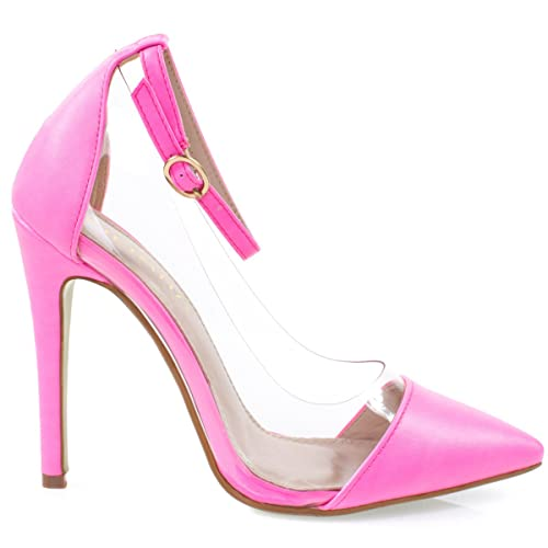 65cb14caa3940 Liliana Women Clear Lucite Dress Pump, Pointed Toe Ankle Strap, See Through  Vamp