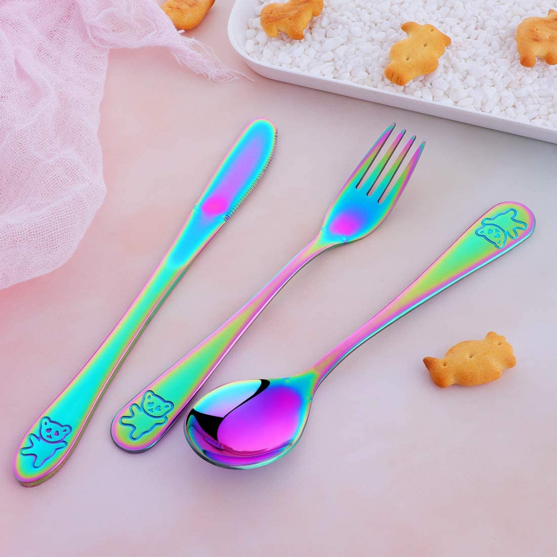 Stainless Steel Kids Flatware Silverware FDA Set of 2 GOGOJOY Safe Child Cutlery Toddler Utensil Cute and Colorful Ideal for Home and Preschools
