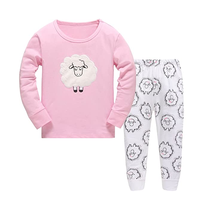 e925acec4e DAWILS Pijama para niñas - Manga Larga - Pijama dos piezas - Lindo Rosa  Oveja Pjs