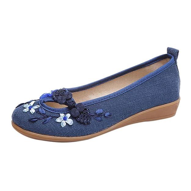 Damas de Las Mujeres Florales Punta Redonda cuñas Mocasines Bordados Zapatos de Lona Ocasionales: Amazon.es: Zapatos y complementos