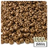 1,000pc Plastic Round Opaque Pony Beads 9x6mm Light Brown beads