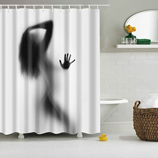 Shadow of Woman on White Shower Curtain Bathroom Waterproof Fabric Curtains