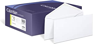 Columbian #10 Envelopes, Gummed Seal, Executive Business, 4-1/8 x 9-1/2 Inches, White, 500 Per Box (CO125)