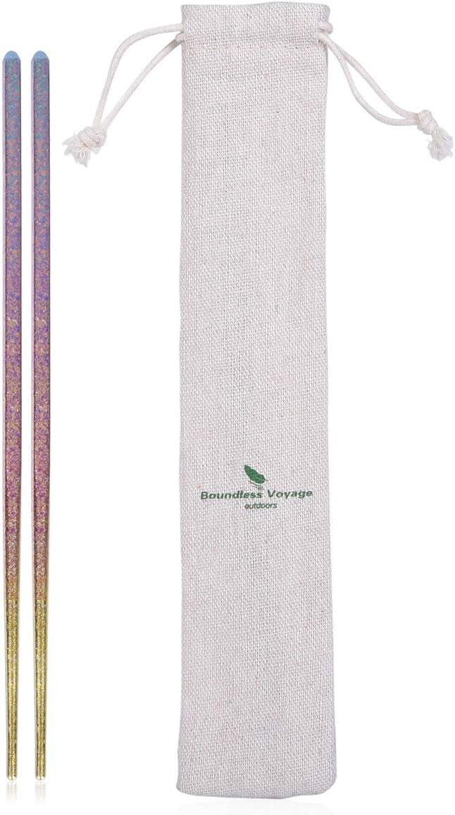 usharedo Colorful Titanium Square Chopsticks Camping Home Travel Equipment Ultralight Tableware Flatware