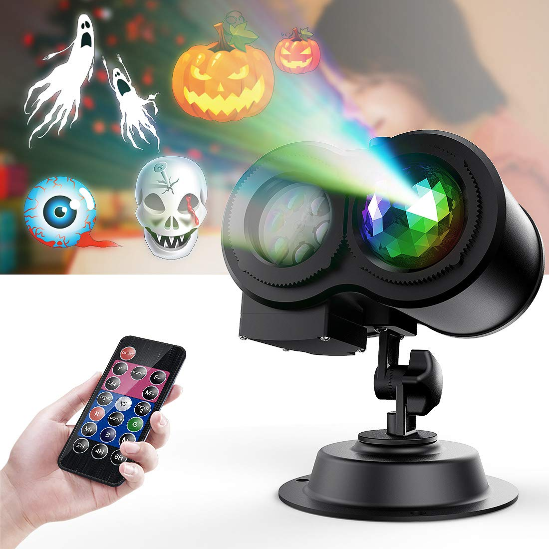 TAOCOCO Halloween Projector lights, Led Projection light, 2 in 1 Outdoor/Indoor Decoration Holiday lights for Halloween Decoration, Waterproof with 12 Slides Patterns Remote Controller