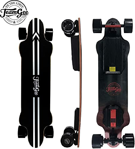 Teamgee H20 39 Ultra-Thin Lightweight Electric Skateboard,26 Mph 42Kph Top Speed,8 Ply Canadian Maple and 1 Ply Fiberglass,with Wireless Remote Control H20