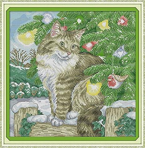 Chreey - Kit de Punto de Cruz | Gato de Navidad | 36 x 36cm ...
