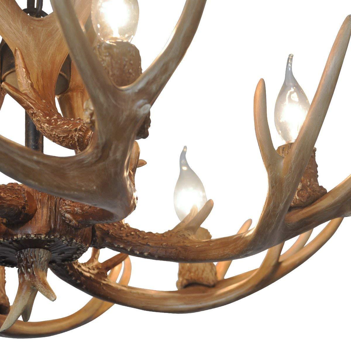 Deer Horn E12 Bulb 6-Light Iron Resin Industrial Retro Droplight Pendant lamp Ceiling lamp Ceiling Light Chandelier Lighting Fixture for Restaurant Balcony Bedroom (Upgraded Version)