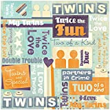 Karen Foster Design Scrapbooking Paper, 25 Sheets, Twins Are Special Collage, 12 x 12''