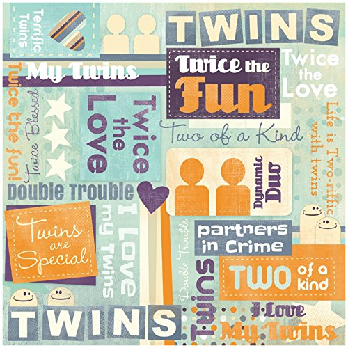 Karen Foster Design Scrapbooking Paper, 25 Sheets, Twins Are Special Collage, 12 x (Twins Scrapbooking)