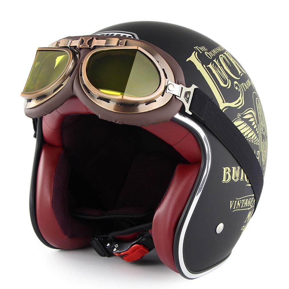 MTTK Oldtimer-Motorradhelm mit Brille Pers/önlichkeitsmoto Halbhelm Elektro-Fahrrad-Sicher-Helm,A,M