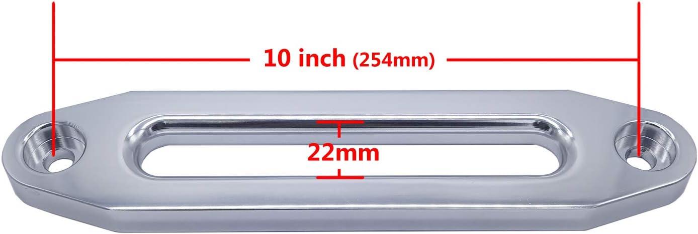 254mm Mount Glossy Silver Ucreative Aluminum Hawse Fairlead for 8000-13000 LBs Winch 10