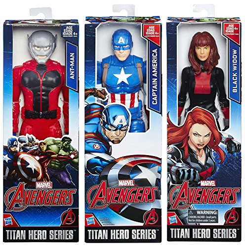 Marvel Titans Avengers 3-Pack Series Captain America + Black Widow + Ant Man Hero Action Figures