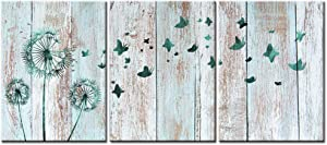Visual Art Decor Teal Abstract Dandelion Butterflies Canvas Wall Art Prints Gallery Wrapped Ready to Hang for Modern Home Bedroom Office Wall Decoration Contemporary Art (11 Dandelion)