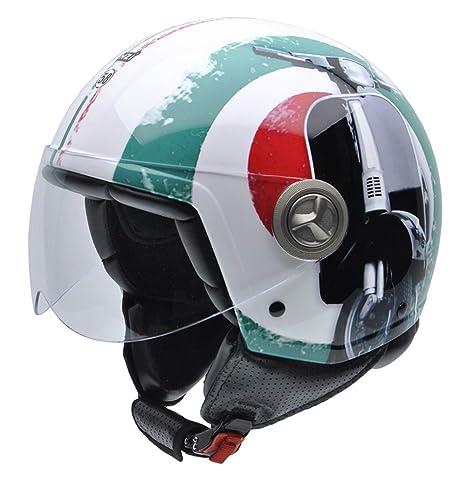 NZI 3D Vintage II Supercinquantotto Casco de Moto, Rojo/Blanco/Verde Mix Bandera