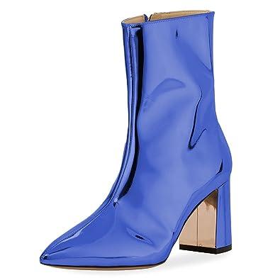 bf37a79139e FSJ Women Fashion Metallic Mid Calf Boots Pointed Toe Chunky Heels Back  Zipper Shoes Size 4