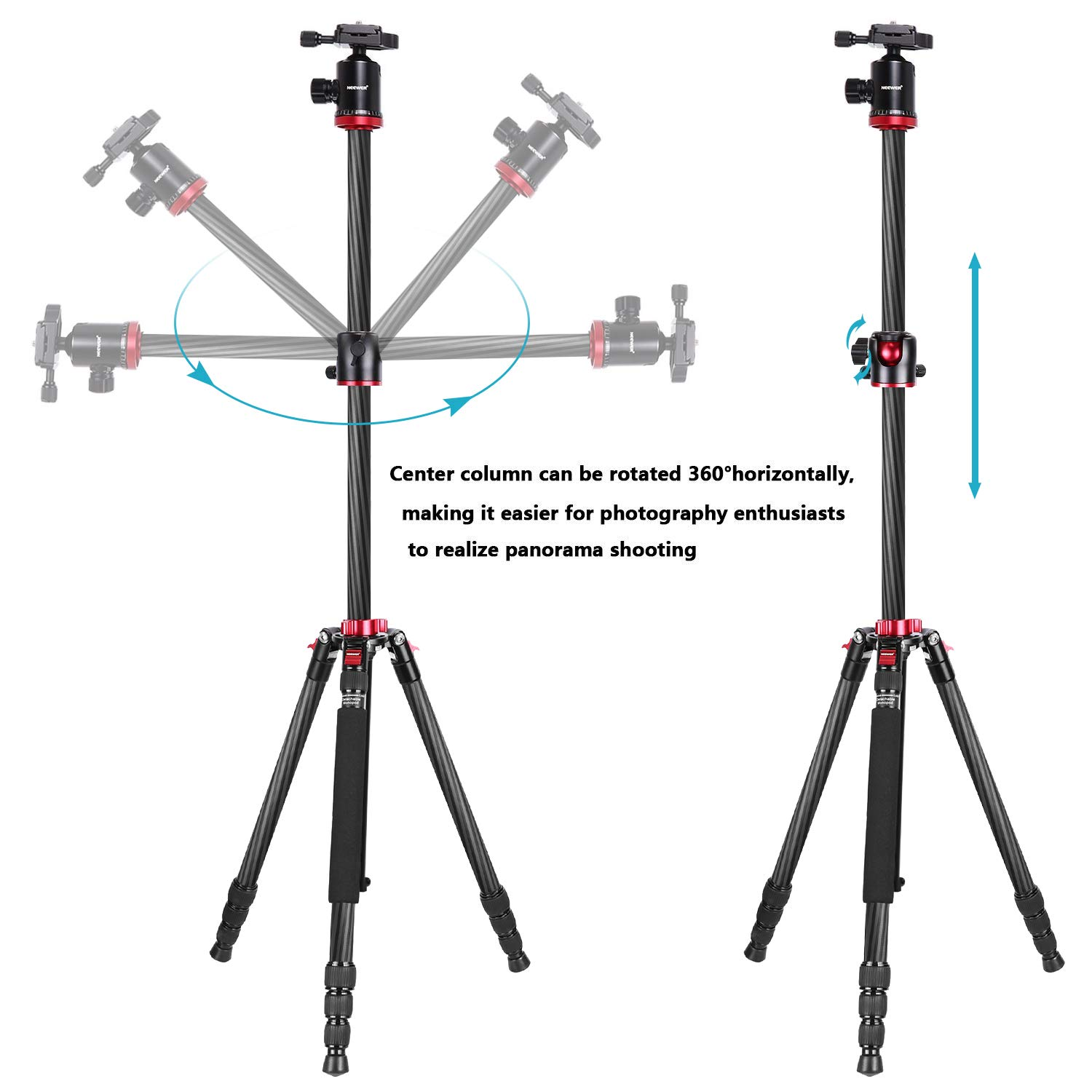 Neewer Camera Tripod Monopod Carbon Fiber with Rotatable Center Column - Portable Lightweight, 75 inches/191 Centimeters, 360 Degree Ball Head for DSLR Camera Camcorder up to 26.5 pounds by Neewer (Image #2)