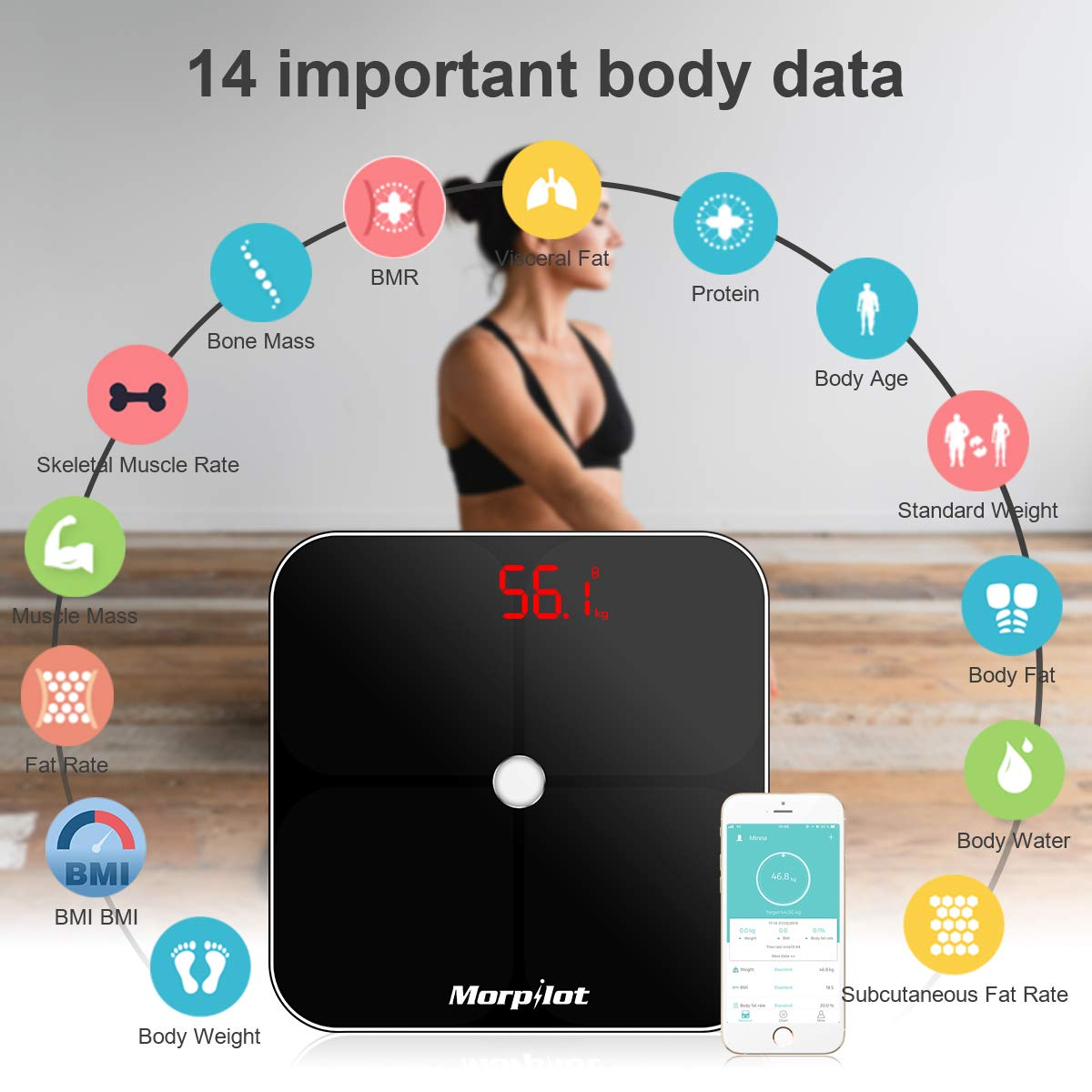 morpilot Bluetooth Body Fat Scale,Smart Scale Digital Bathroom Wireless Weight Scale with 14 Essential Health Measurements,Body Weight Scale Composition Analyzer with Smart Phone App,180kg/400lb