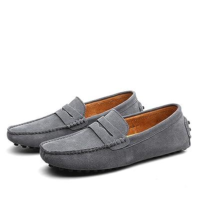 SHELAIDON Slip-On Herren Mokassin Schuhe Flache Slippers Wildleder Loafers Shoes (EUR39,gray)