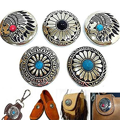 5Pcs DIY Concho Button Retro Bling Turquoise Beads Leathercraft Vintage Button Bohemian Style Mohican Head Indian Head ()