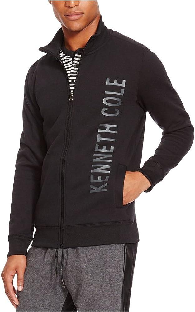 Kenneth Cole REACTION mens Full Zip Logo Long Sleeve Knit