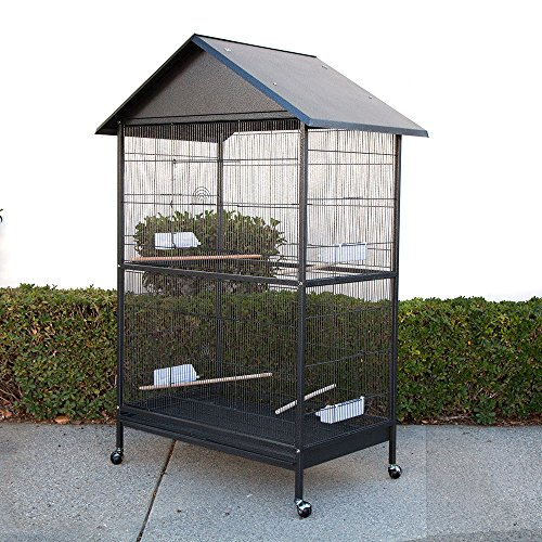 Large Bird Cage Parrot Aviary with Roof W45 X D29 X H67