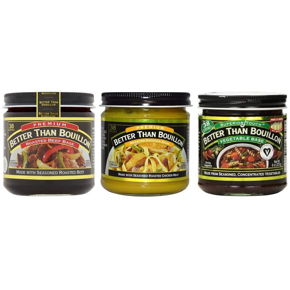 Better than Bouillon Premium Roasted Beef Base, Roasted Chicken Base, Seasoned Vegetable Base 8 ounce Jars (Variety 3 Pack)