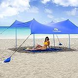 Red Suricata Family Beach Sunshade – Sun Shade Canopy | UPF50 UV Protection | Tent with 4 Lightweight Aluminum Poles, 4 Sandbag Anchors | Large & Portable Shelter Tarp
