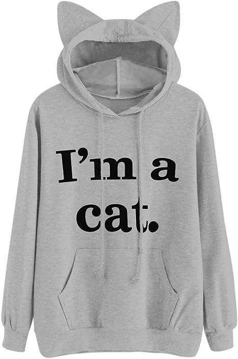 Damen Kapuzenpullis Beutel Haustier Katze mit Kapuze Pullover Ohren xk