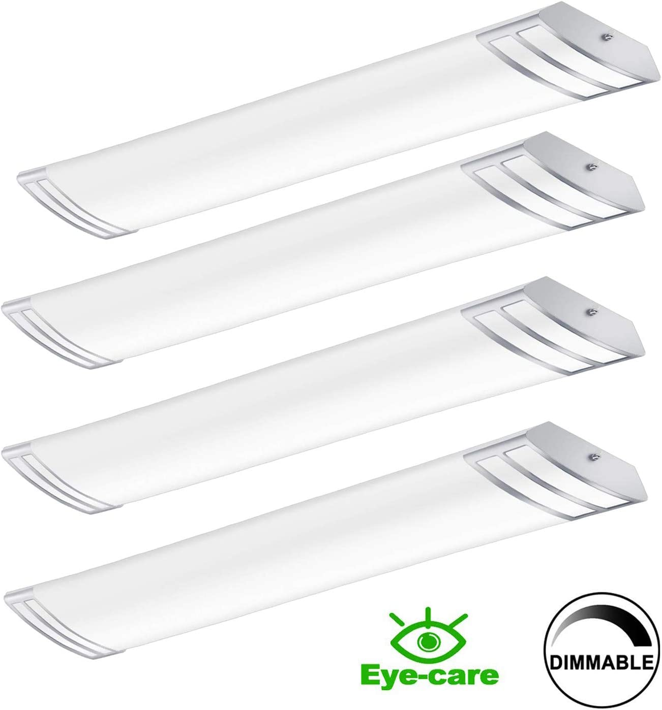 4FT LED Light Fixture 50W 5600lm Linear Light Flush Mount, 4000K, 1-10V Dimmable, 4 Foot LED Kitchen Ceiling Light Fixtures for Craft Room, Laundry, Fluorescent Replacement, 4 Pack