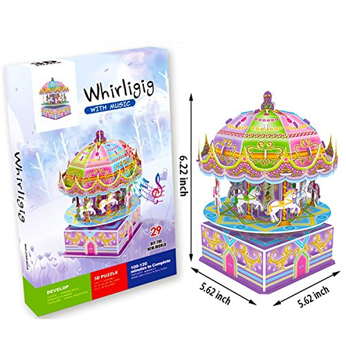 3D Carousel Puzzles for Kids Magic Carousel Music Box Dollhouse Model Whirligig Jigsaw Music Box DIY Construction Set Educational Toys Creative Games, Carousel Toy for Birthday Gift Girl Boy by TTHO (Image #4)