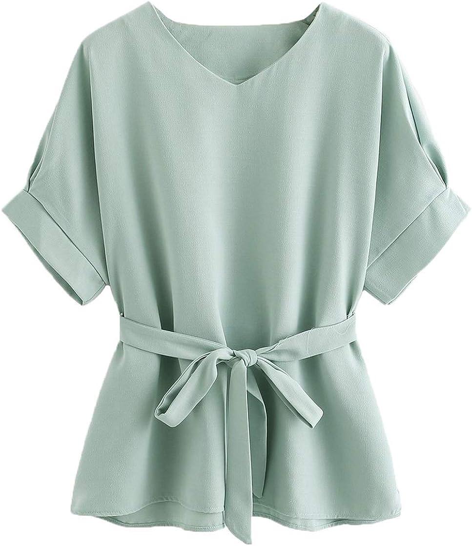 Milumia Women's V Neckline Self Tie Short Sleeve Blouse Tunic Tops