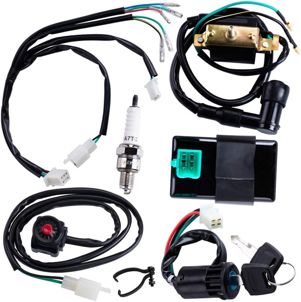 Amazon Com Cncmotok Wiring Loom Harness Kill Switch Ignition Coil Cdi Box Spark Plug Rebuild Kit For Kick Start Dirt Pit Bike Atv 50cc 70cc 90cc 110cc 160cc Buggy Go Kart Wire Harness Automotive
