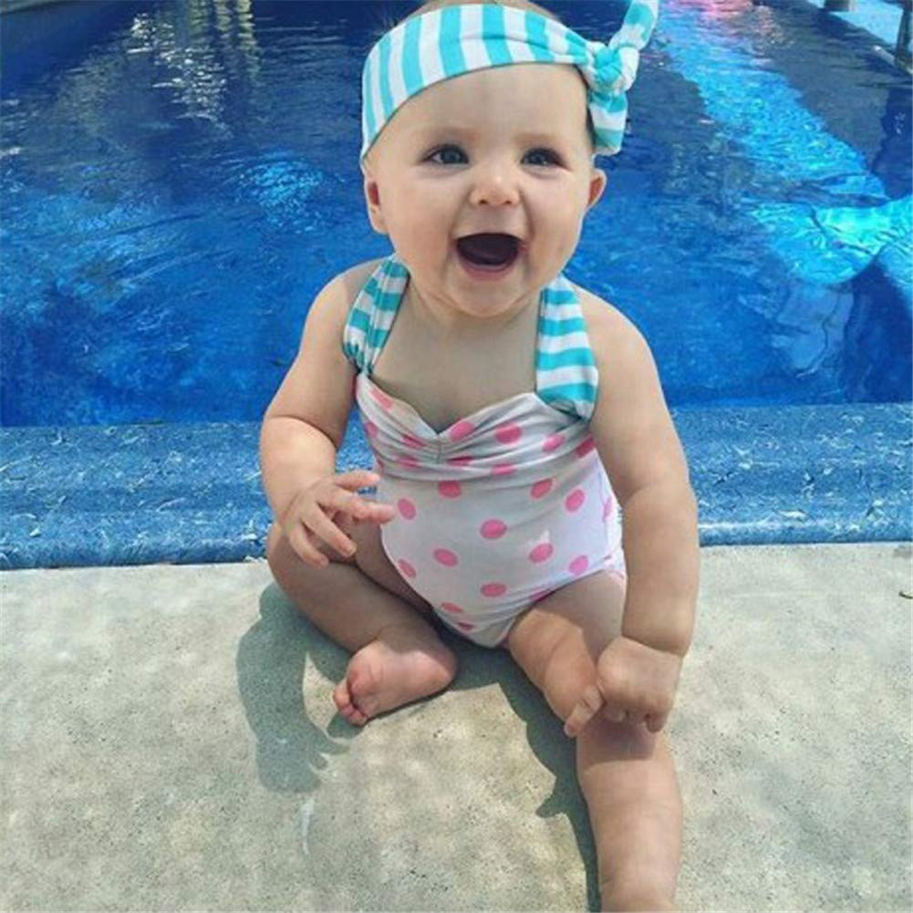 for Bady Toddler Girl Sleeveless Coolbabe One Piece Swimsuit Pink Polka Dot Swimwear with Headband