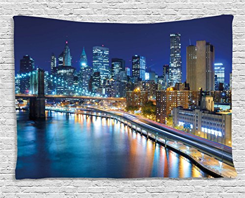 Ambesonne Landscape Tapestry, View of New York City Manhattan Bay Harbour at Night with Lights and Skyscrapers, Wall Hanging for Bedroom Living Room Dorm, 60 W X 40 L Inches, Multicolor